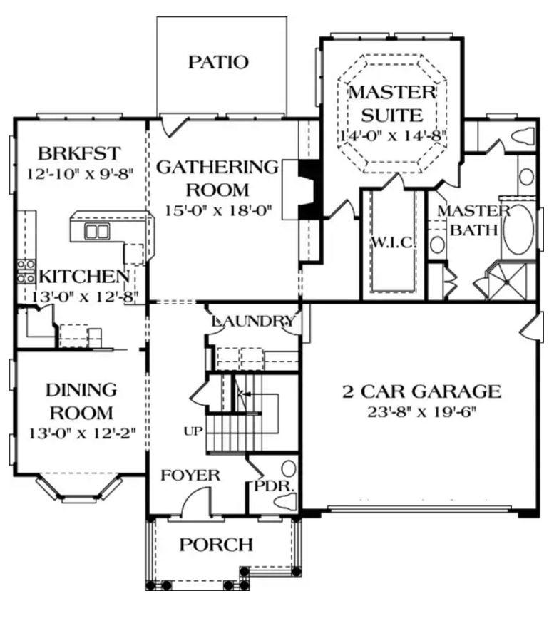 Modelo de casa colonial for Planos de casas de 24 metros cuadrados