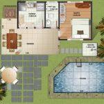 Plano de casa con quincho y pileta