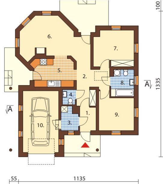 Plano de casa de 11 x 13 m