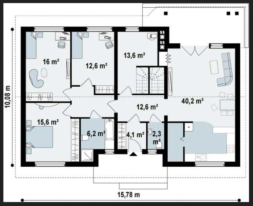 Plano de casa rectangular con cortes