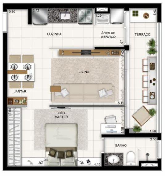 Plano departamento 2 ambientes