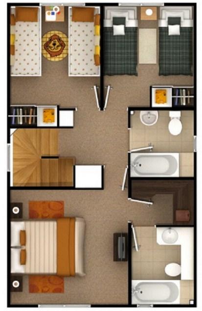 Planos de casas con dormitorios arriba