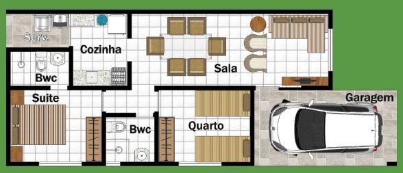 Planos de casas de 54 metros cuadrados