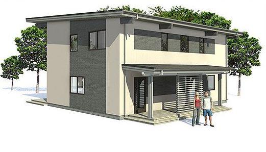 Planos de casas rectangulares de dos plantas for Plantas de oficinas modernas