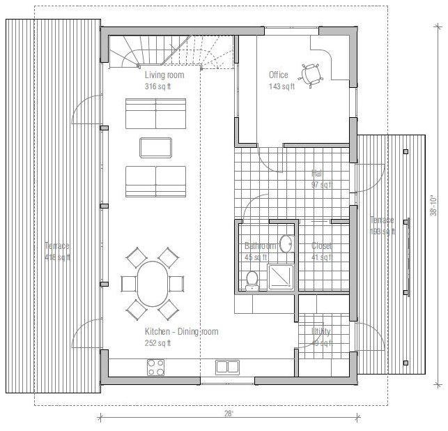 plano de casa rectangular de dos pisos
