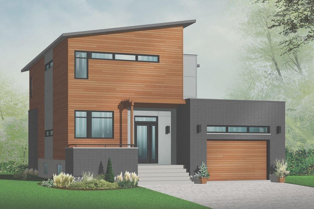 Casa moderna revestida con madera y adoquines