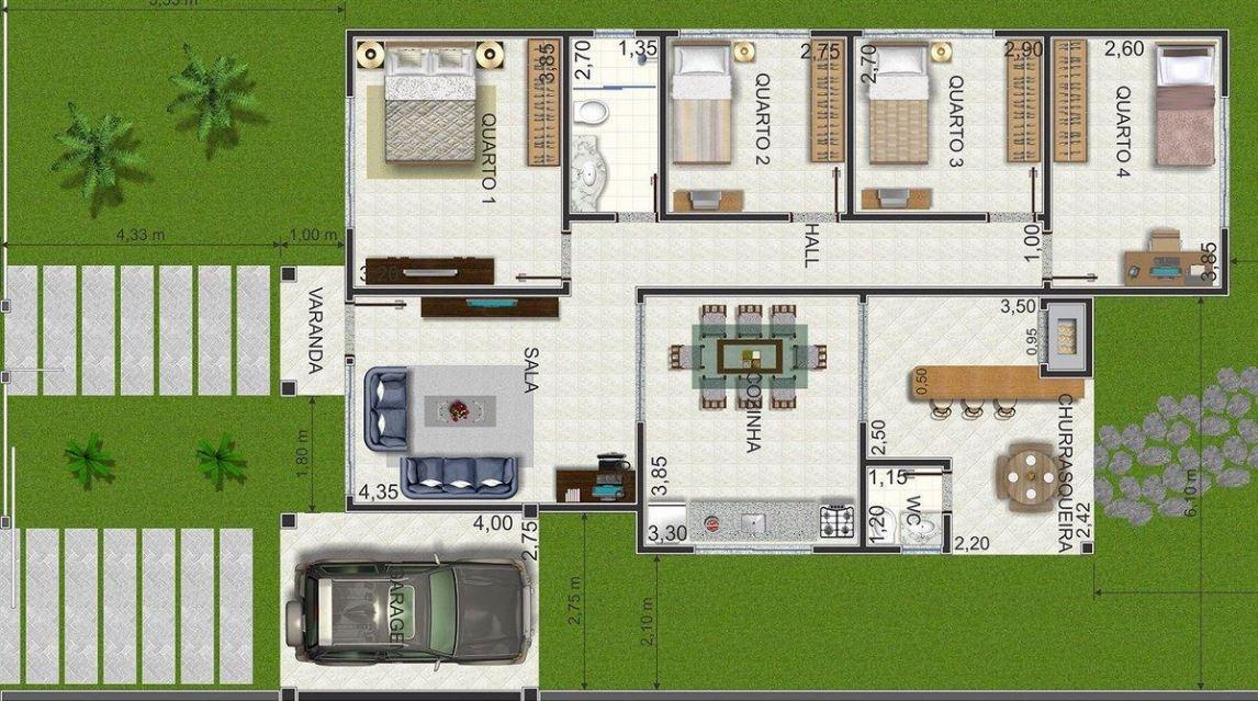 Plano de casa de un piso con 4 dormitorios - Modelos de dormitorios ...