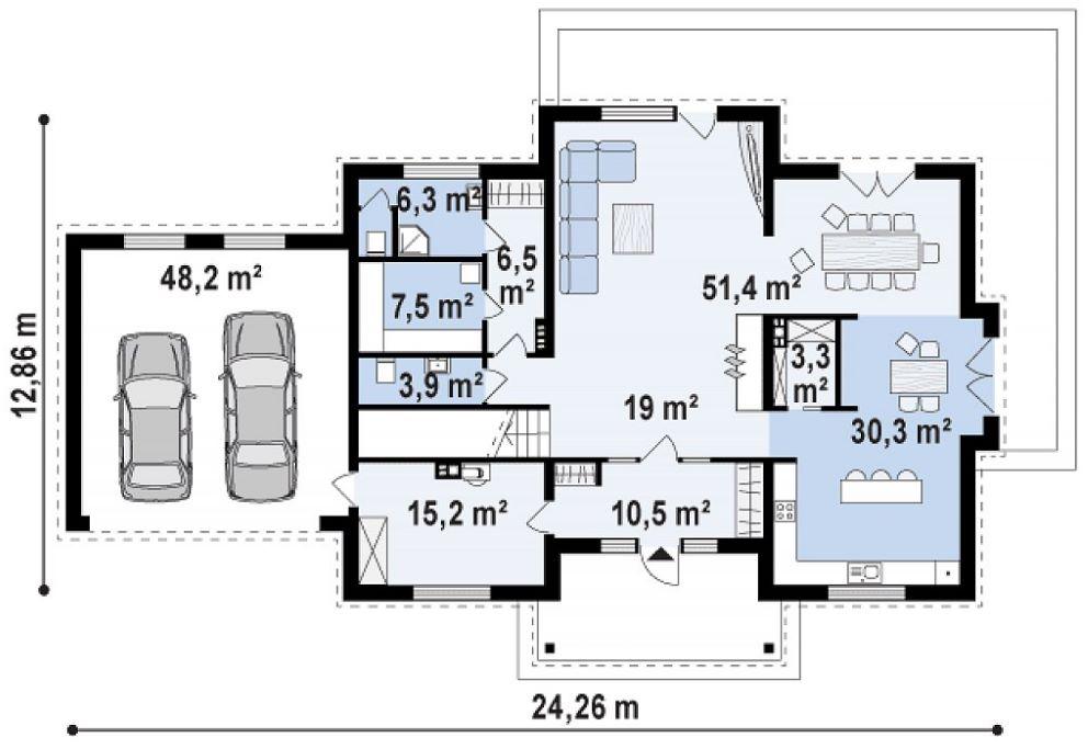 Plano de casa grande con fachada imponente