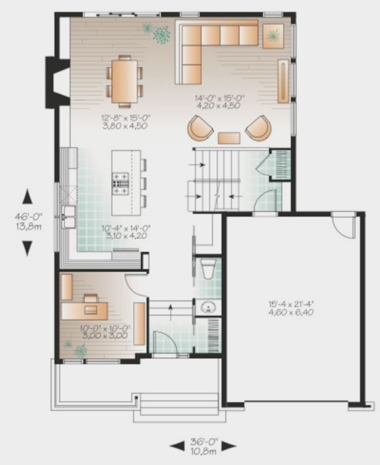 Plano de casa moderna revestida con madera y adoquines