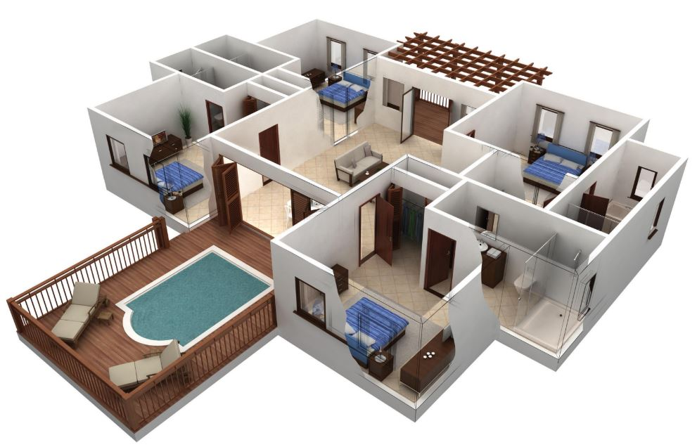 Departamentos planos y casas 3d house design drawings