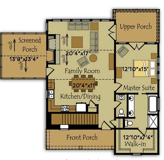 Planos de casas norteamericanas pequeñas
