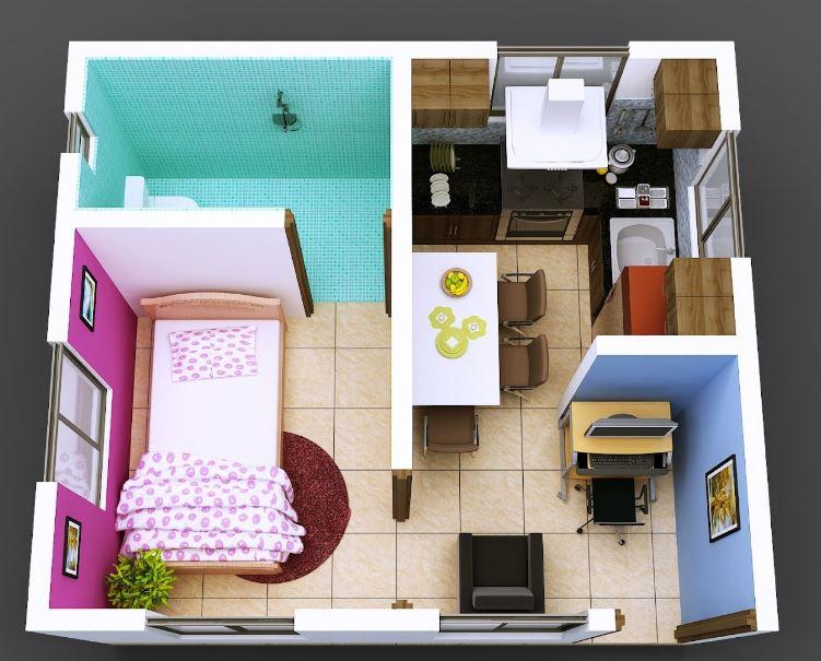 Planos de departamentos de 30 metros cuadrados for Cuarto 4x4 metros