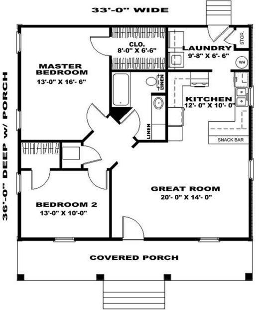 planos-de-casas-de-campo-de-un-piso-y-2-dormitorios