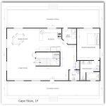 Casa rectangular de 1 dormitorio y sótano