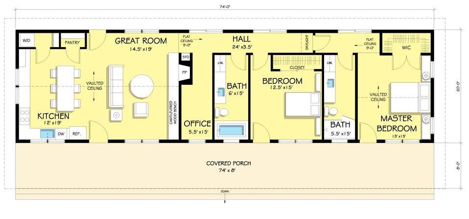 Plano de casa de un piso - Fotos de casas en forma de l ...