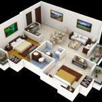 Modelo de departamento de 2 dormitorios y 2 baños