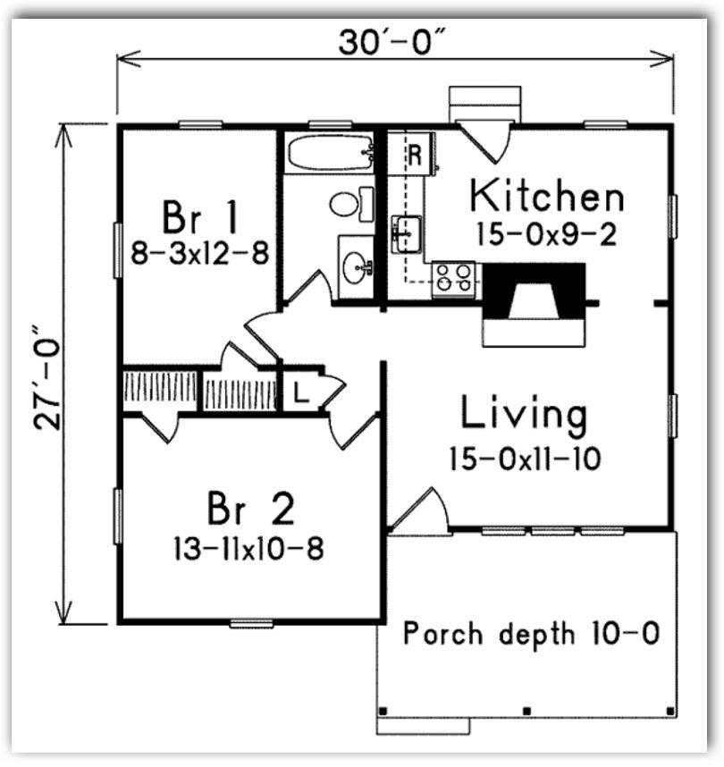 plano-de-casa-pequena-de-70-metros-cuadrados-y-2-dormitorios
