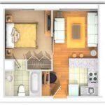 Plano de departamento de 30 metros cuadrados