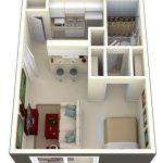 Departamento de un dormitorio rectangular