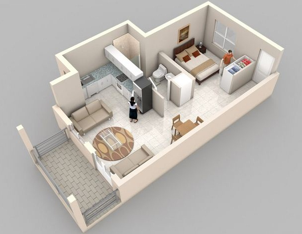Departamento Para 2 Personas on 3d One Bedroom Apartment Floor Plans