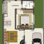 Diseño de casa pequeña con cochera y 2 dormitorios