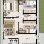 Plano de casa de 3 dormitorios en 50 metros cuadrados