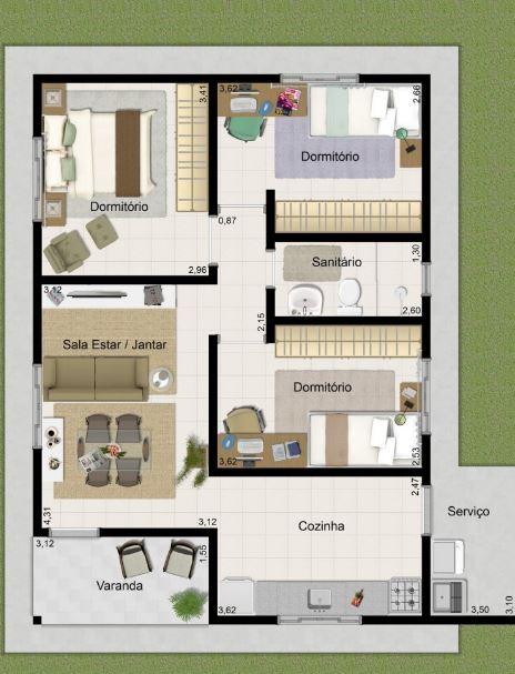 Plano de casa de 50 m2 for Piso 60 metros cuadrados 3 habitaciones