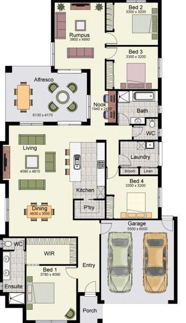 plano de casa de un piso con 4 dormitorios
