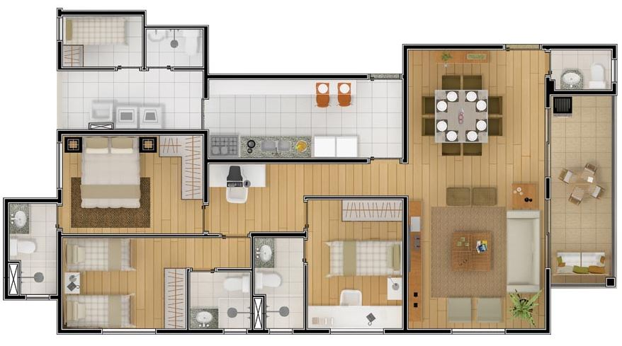 plano departamento 3 dormitorios