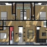 Casa de 3 dormitorios con planos y cortes