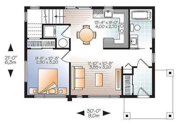Plano De Casa Con Un Dormitorio En La Planta Alta - Planos-de-casas-de-una-planta-pequeas