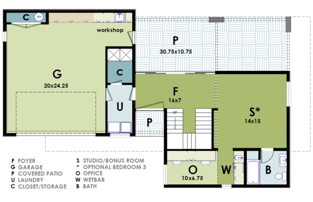 Plano de casa de 200m2 en dos plantas for Planos de casas 200m2