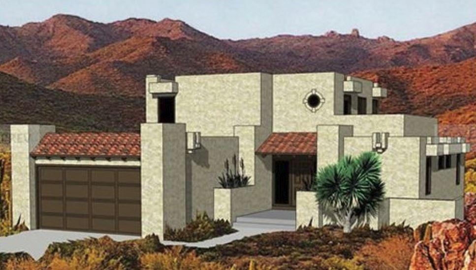 Casa de adobe de dos pisos