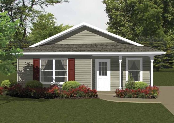 Diseño de casa bonita y sencilla con 2 habitaciones