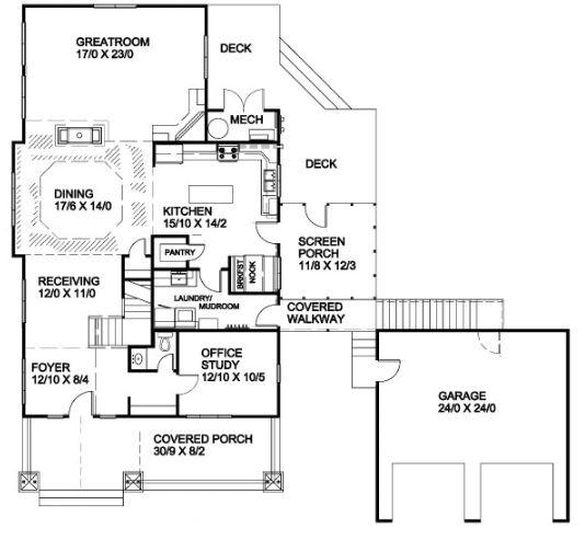 Modelo de casa de dos pisos con corredor al frente