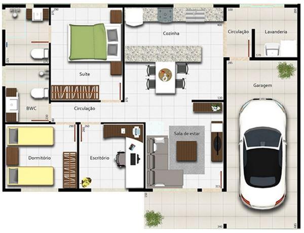 Plano de casa de una planta y 2 dormitorios for Diseno de casa sencilla