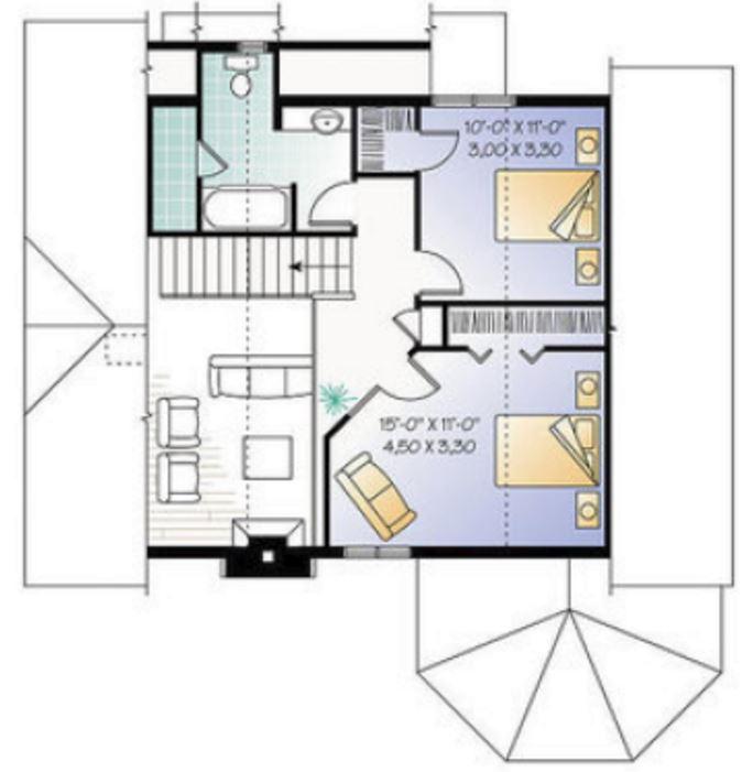 Plano de casa de 2 pisos y 160 metros cuadrados