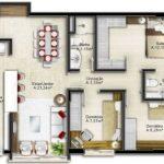 Plano de casa pequeña de 68 m2