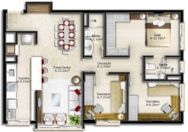 Plano de casa pequeña de 66 m2