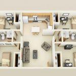 Plano de departamento rectangular de 4 dormitorios