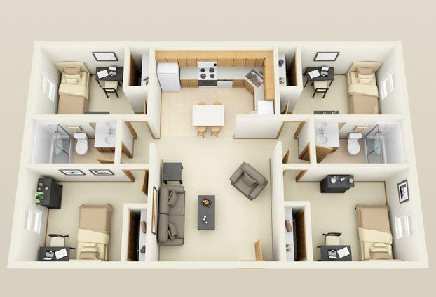 Plano de departamento Departamento 3 habitaciones