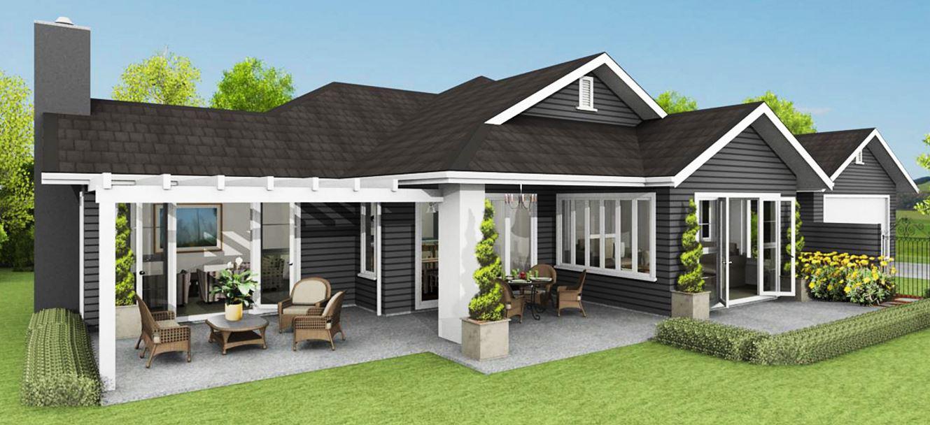 Planos de casas grandes de un piso for Modelos de casas de madera de un piso