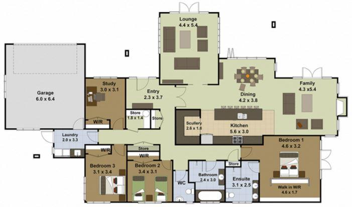 planos de casas grandes de un piso