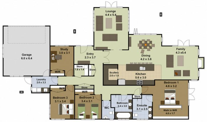 Planos de casas grandes de un piso for Plantas de casas de un piso