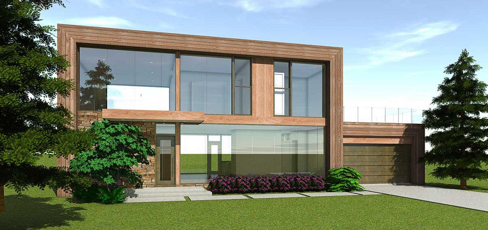 Casa con ventanales - Fachadas de casas modernas planta baja ...