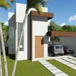 Plano de casa moderna de dos pisos y 4 habitaciones