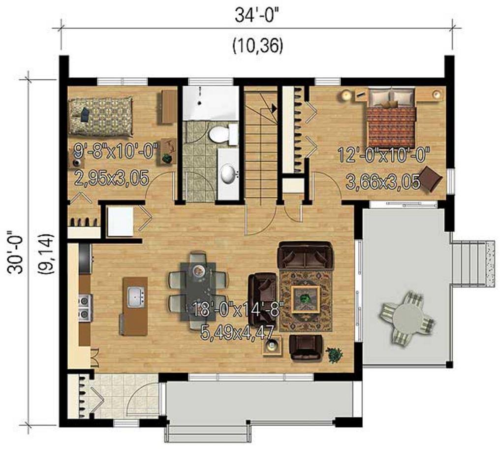 Planos de casas de 70 metros cuadrados for Escalera de 5 metros