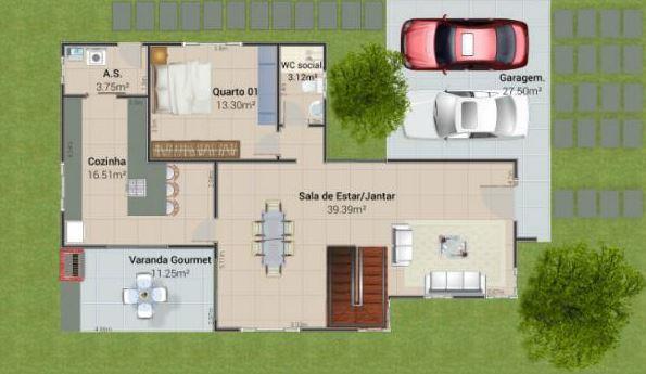 Plano de casa moderna de dos pisos y 4 habitaciones for Planos casas modernas 2 plantas