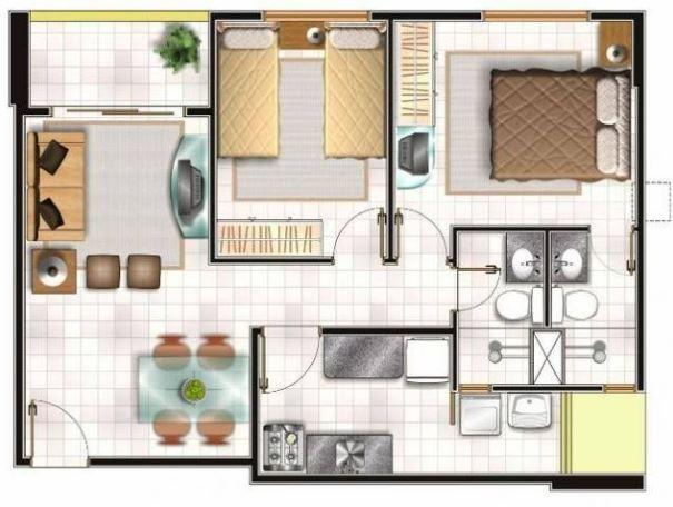 Plano de casa 60 metros cuadrados - Piso de 60 metros cuadrados ...