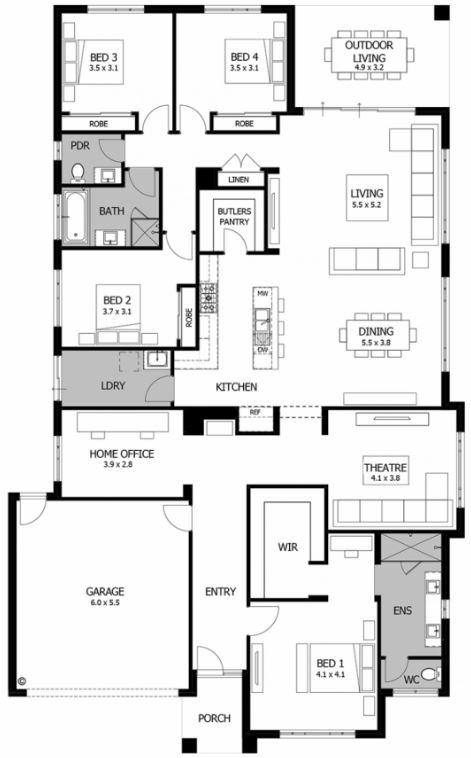 Dise o de casa moderna de un piso for Vivienda minimalista planos
